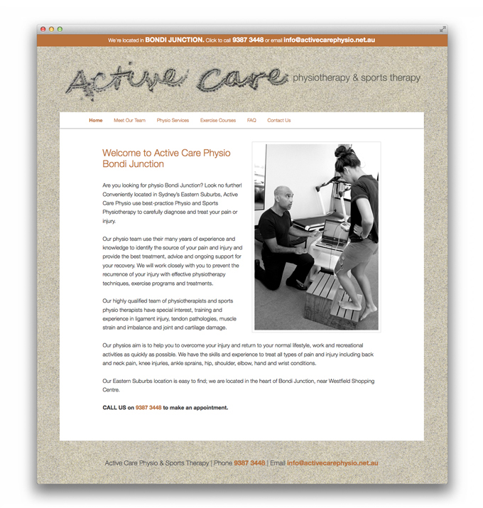 Active Care Physiotherapy website