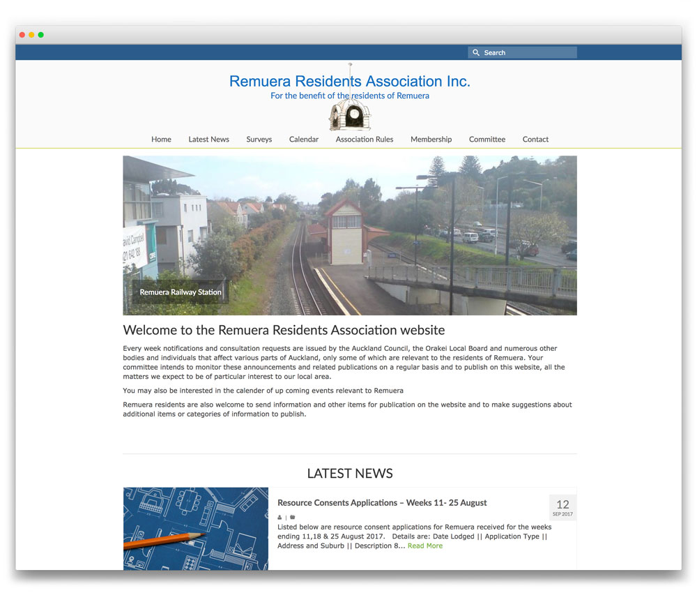 Remuera Residents Association - Responsive WordPress website